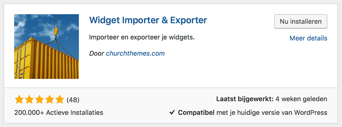 Widget Importeer & Exporteer installeren en activeren