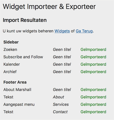 Widgets importeren is gelukt